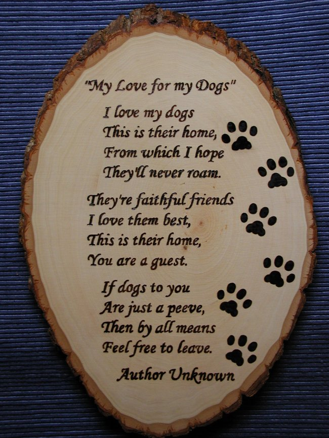 Dogs Poem plaque